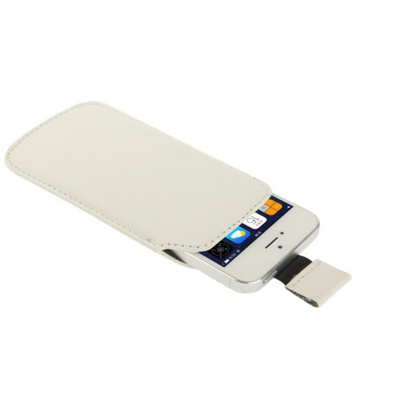 AppleKing pouzdro s vytahovacím poutkem pro iPhone 5 / 5S / SE - bílé - možnost vrátit zboží ZDARMA do 30ti dní