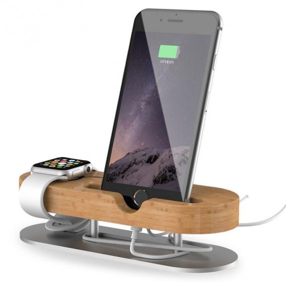 AppleKing dokovací stanice z hliníku a bambusu pro Apple Watch / iPhone - možnost vrátit zboží ZDARMA do 30ti dní