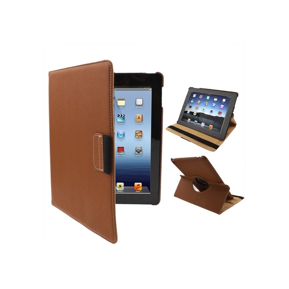 Otočný 360° ochranný kryt a držák pro Apple iPad 2. / 3. / 4.gen. - hnědý