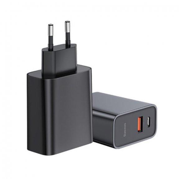 Baseus rychlá nabíječka do EU zásuvky s porty USB-C a USB - černá - možnost vrátit zboží ZDARMA do 3