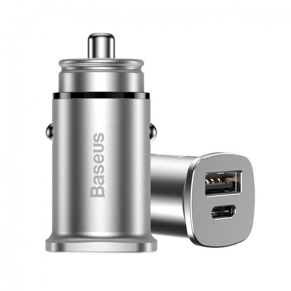 Baseus rychlá mini-nabíječka do auta s porty USB-C PD a USB - stříbrná - možnost vrátit zboží ZDARMA do 30ti dní