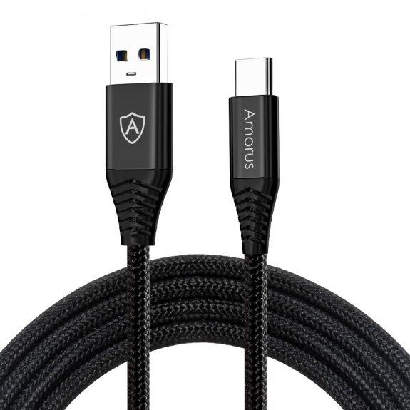 AppleKing amorus opletený nabíjecí a datový kabel s USB 3.0 a USB-C konektorem - černý - možnost vrátit zboží ZDARMA do 30ti dní
