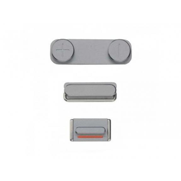 AppleKing náhradní postranní tlačítka pro Apple iPhone 5S (Hlasitost + Zapnutí / vypnutí + Ztlumení) - vesmírně šedá (Space Gray) - možnost vrátit zboží ZDARMA do 30ti dní