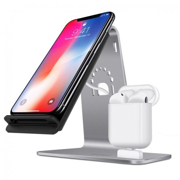 Bestand rychlonabíjecí stanice pro iPhone / AirPods - šedá - možnost vrátit zboží ZDARMA do 30ti dní