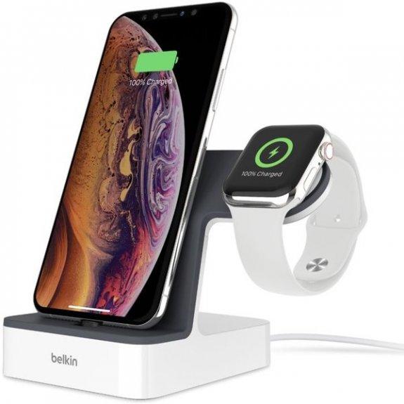 Belkin bezdrátový rychlonabíjecí stojánek pro Apple Watch a iPhone - bílý F8J237vfWHT - možnost vrátit zboží ZDARMA do 30ti dní
