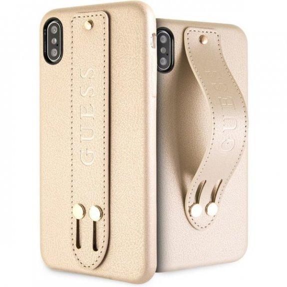 Guess Saffiano kryt s úchytem pro iPhone XS Max - béžový 3700740447529 - možnost vrátit zboží ZDARMA do 30ti dní