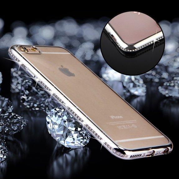 AppleKing luxusní kryt s třpytivými kamínky po obvodu pro iPhone 6 / 6S - stříbrný - možnost vrátit zboží ZDARMA do 30ti dní