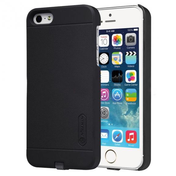 NILLKIN 2v1 magický kryt / obal pro Qi bezdrátové nabíjení Apple iPhone 5 / 5S / SE - protiskluzový - černý - možnost vrátit zboží ZDARMA do 30ti dní