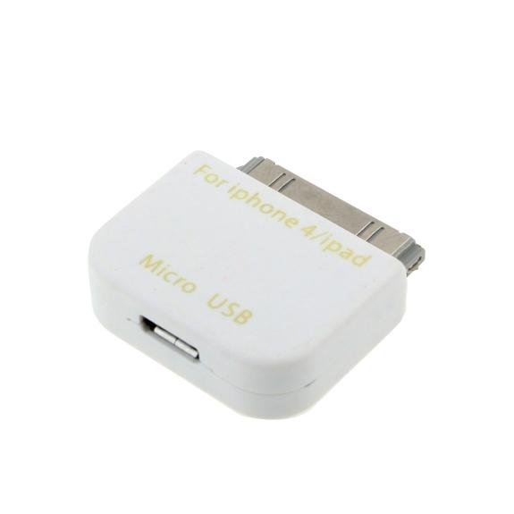 AppleKing redukce micro USB / 30pin konektor pro iPhone / iPad / iPod - bílá - možnost vrátit zboží ZDARMA do 30ti dní