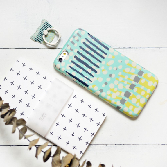 MAOXIN Luxusní kryt / obal vyrobený z ekologických materiálů s prstýnkovým držákem / stojánkem pro Apple iPhone 6S Plus / iPhone 6 Plus (tečky a proužky) včetně poznámkového bloku a plastového sáčku - možnost vrátit zboží ZDARMA do 30ti dní