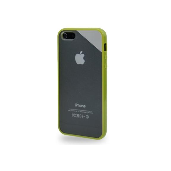 Ochranný průhledný plastový kryt s rámečkem pro iPhone 5 / 5S / SE - zelený