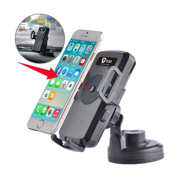 Itian univerzální 360° otočný držák do auta s Qi bezdrátovým nabíjením a uchycením na čelní sklo / palubní desku nebo do ventilační mřížky pro Apple iPhone - černý - možnost vrátit zboží ZDARMA do 30ti dní
