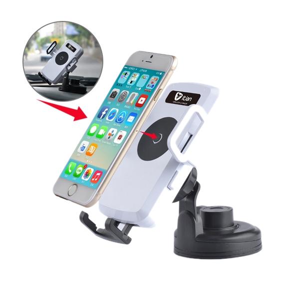 Itian univerzální 360° otočný držák do auta s Qi bezdrátovým nabíjením a uchycením na čelní sklo / palubní desku nebo do ventilační mřížky pro Apple iPhone - bílý - možnost vrátit zboží ZDARMA do 30ti dní