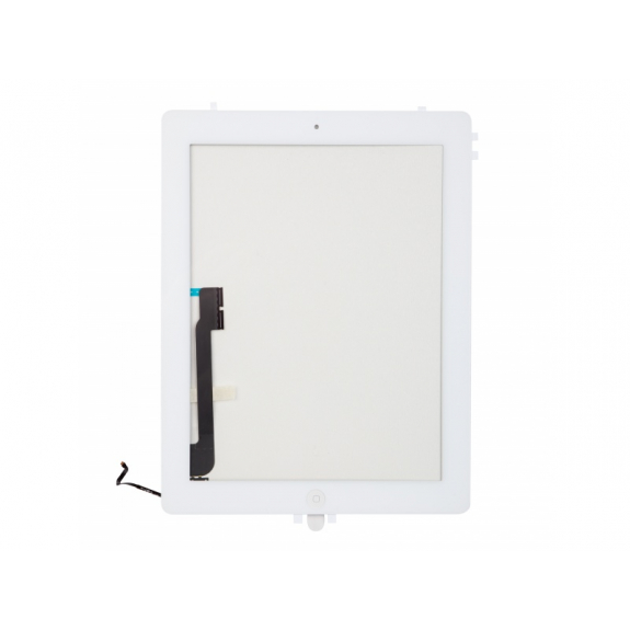 Přední dotykové sklo (touch screen) pro Apple iPad 4 s tlačítkem Home Button a lepidlem - bílé - možnost vrátit zboží ZDARMA do 30ti dní