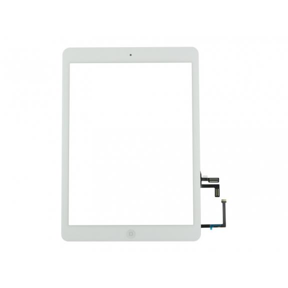 AppleKing přední dotykové sklo (touch screen) pro Apple iPad Air s tlačítkem Home Button a lepidlem - bílé - možnost vrátit zboží ZDARMA do 30ti dní