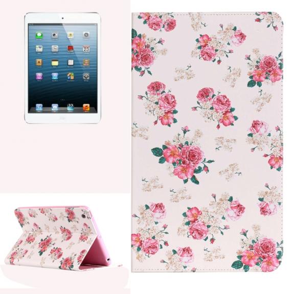 AppleKing pouzdro se stojánkem a prostorem na doklady nebo dokumenty pro iPad mini / mini 2 / mini 3 – květy růže - možnost vrátit zboží ZDARMA do 30ti dní