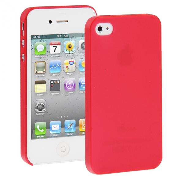 AppleKing ultra tenký (0.3mm) poloprůhledný matný kryt pro iPhone 4 / 4S - červený - možnost vrátit zboží ZDARMA do 30ti dní