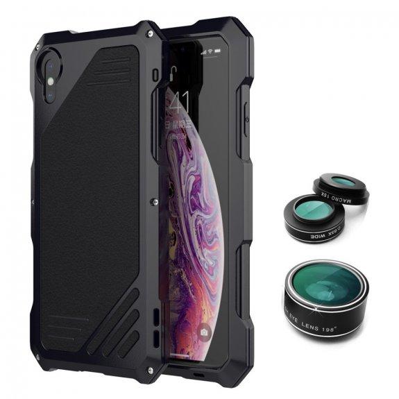 AppleKing viking extra odolné pouzdro se 3 výměnnými objektivy pro iPhone X / XS - černé - možnost vrátit zboží ZDARMA do 30ti dní