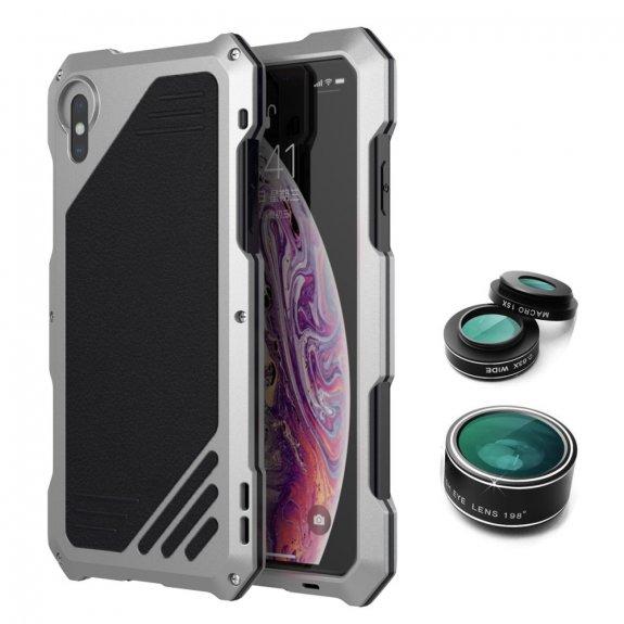 AppleKing viking extra odolné pouzdro se 3 výměnnými objektivy pro iPhone X / XS - stříbrné - možnost vrátit zboží ZDARMA do 30ti dní