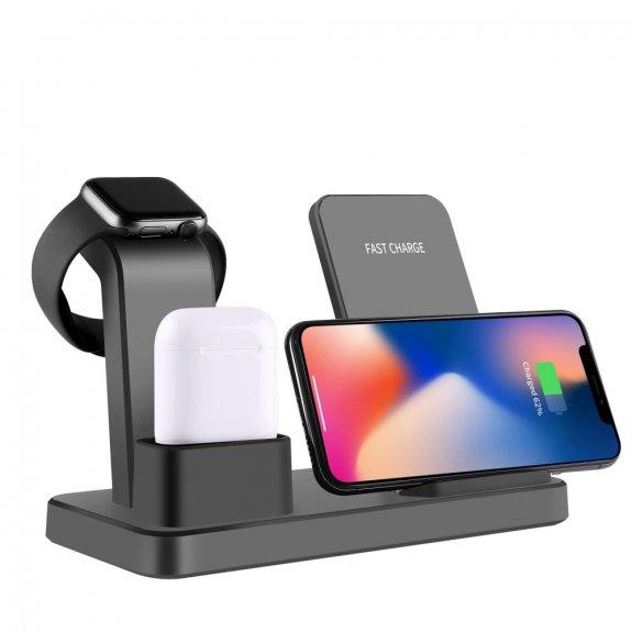 AppleKing 3v1 bezdrátová stolní nabíječka pro iPhone / Apple Watch / AirPods - černá - možnost vrátit zboží ZDARMA do 30ti dní