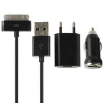 Nabíjecí sada 3v1 s 30pin konektorem pro iPhone / iPod Touch – černá