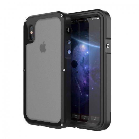 AppleKing viking nárazuvzdorné vodě a prachu odolné hliníkové pouzdo pro iPhone X - černé - možnost vrátit zboží ZDARMA do 30ti dní