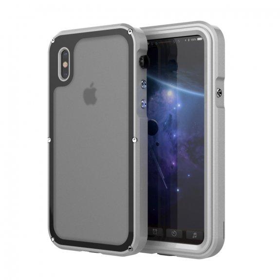 AppleKing viking nárazuvzdorné vodě a prachu odolné hliníkové pouzdo pro iPhone X - stříbrné - možnost vrátit zboží ZDARMA do 30ti dní