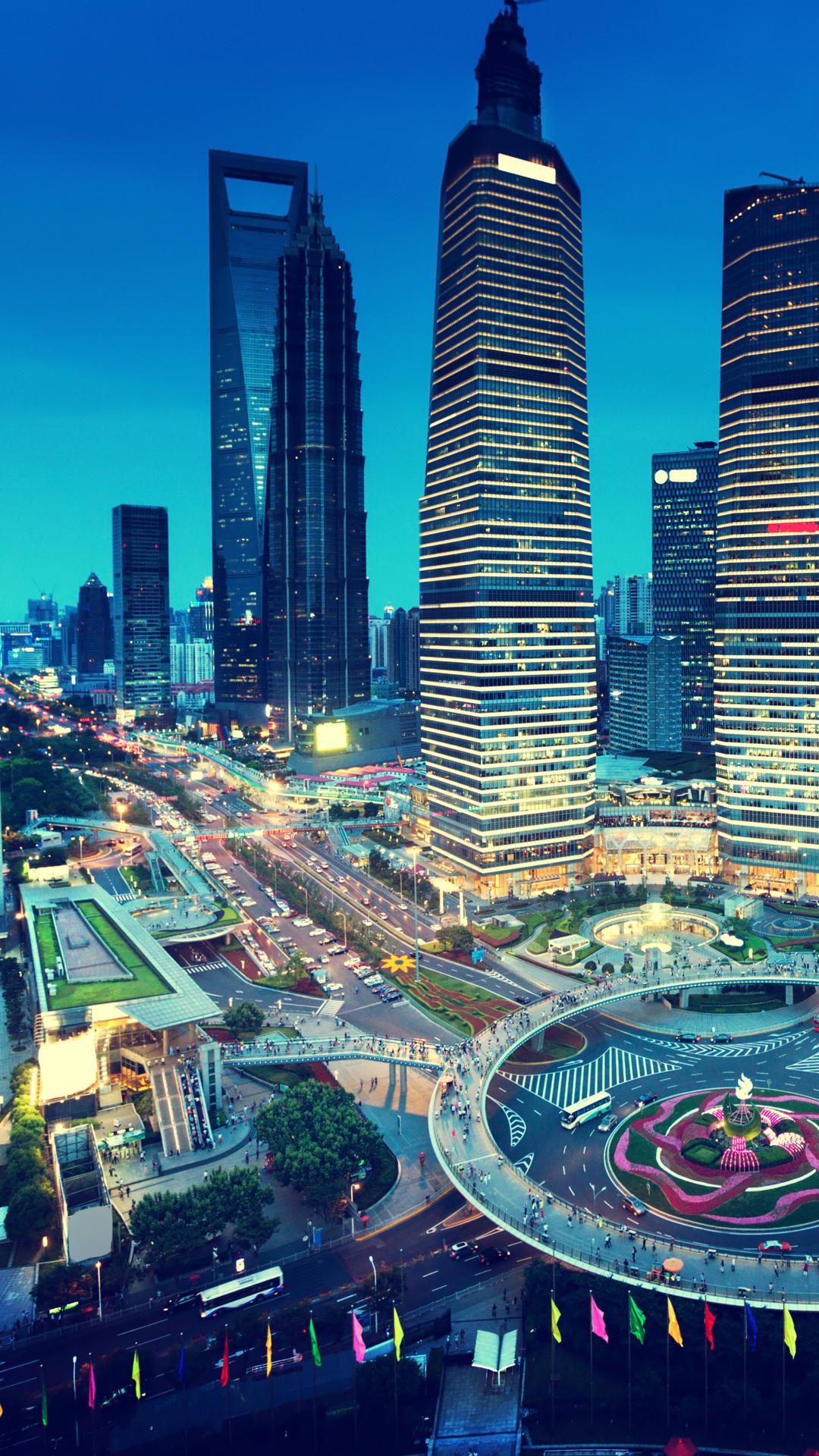 Tapeta pro iPhone, čínské město Šanghaj