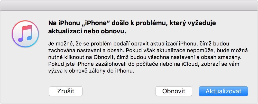 Ako odblokovať iPhone - režim zotavenie