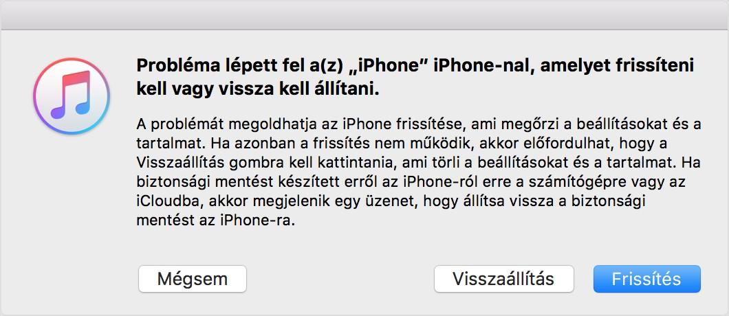 iPhone helyreállítási mód iTunes