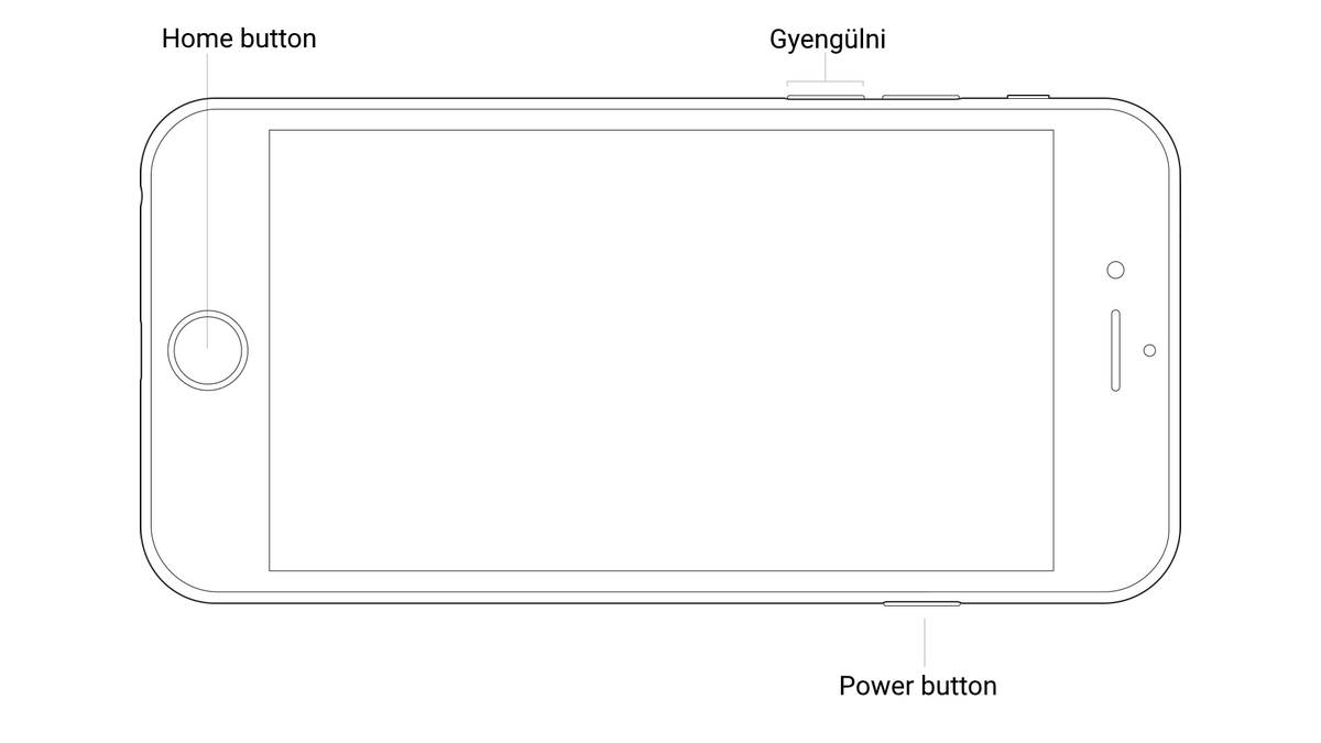 iPhone restart - horizontal gomb