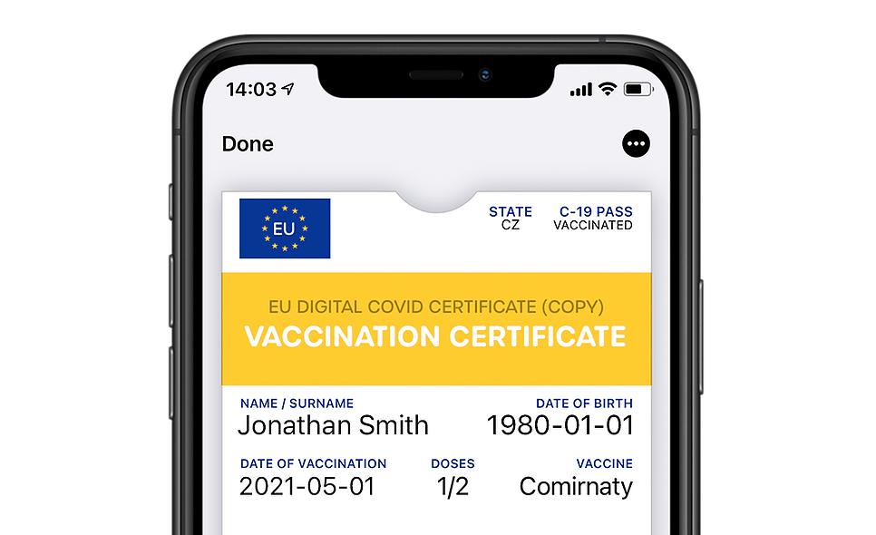 COVID certifikát viPhonu. Nahraje si ho doWallet